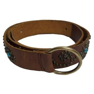Accessories - Western Style Flower Studs & Turquoise Stones Belt